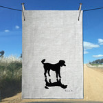 Handprinted Poodle & Shadow Silhouette Pure LineLinen Tea Towel Free Shipping