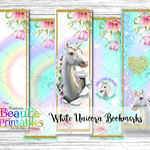 Unicorn Bookmark Printable - Rainbow Unicorn Bookmark - White Unicorn Bookmark