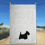 Handprinted Scottish Terrier Pure Linen Tea Towel.   Free Shipping