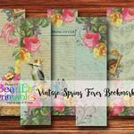 Vintage Book Marks, Digital Bookmarks, Large Tag, Label, Spring Fever Collection