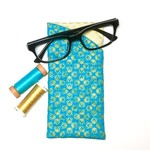 Turquoise/Gold Fabric Glasses/Sunnies Case