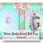 Digital Unicorn Journal Book Cover, Unicorn Rainbow Journal book, Printable