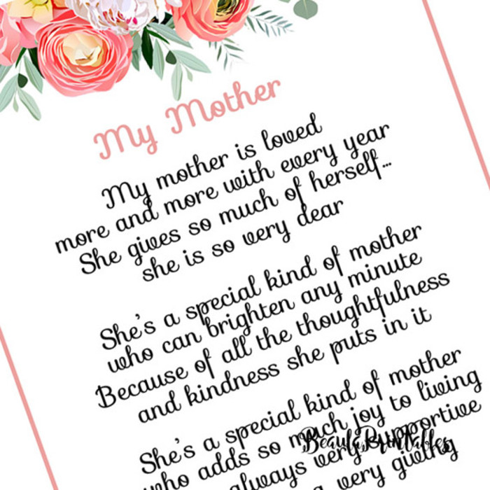 photograph relating to Printable Mothers Day Poems identified as Moms Working day Poem Print, Moms Working day Poem Printable - Moms