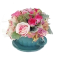 Silk Table flowers - Turquoise Ceramic Cup & Saucer with Lavender/ Pink Flowers