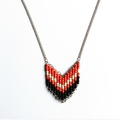 Red and White Beaded Tribal Geometric Necklace