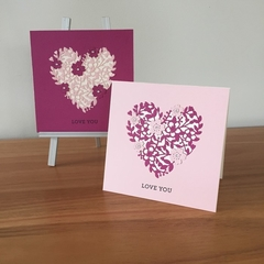 floral heart card, handmade card, any occasion card, blank card