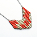 Red and White Beaded Contemporary Geometric Necklace