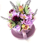 Silk Flower Arrangement  - Ceramic Cup & Saucer with Lavender/ Purple Flowers