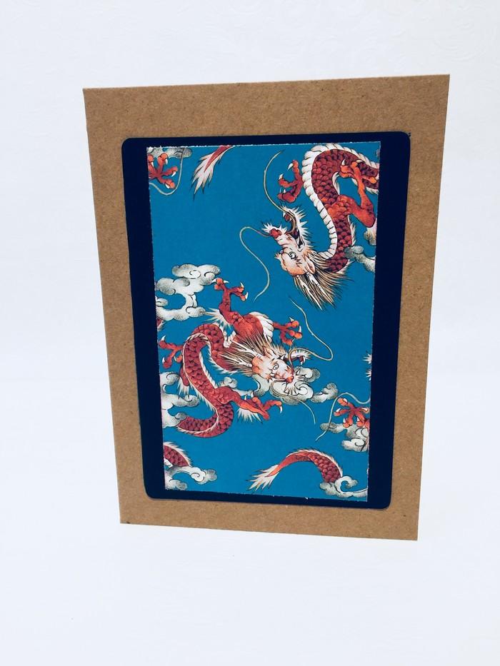 Birthday Card Unisex Japanese Dragon Blue