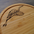 Wood Burnt Flying Crane Bamboo Cutting Board