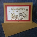 'Congratulations on Your Retirement' Kraft Card with Four Golden Owls