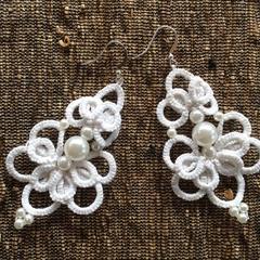 Handmade White Bridal chandelier Vintage Earrings#Pearls #Tatted#Gift#Jewellery