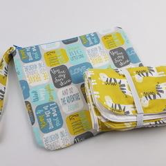 You are my sunshine giraffe print zipper pouch with matching change mat