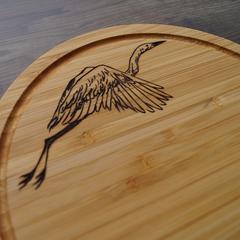 Wood Burnt Flying Crane Bamboo Cutting Board