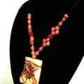 Cricket-Carved Natural JASPER Gemstone Pendant on Genuine Orange JADE Necklace