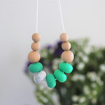 Silicone Nursing Necklace Mum Jewellery BPA FREE Jade Green & Natural Wood