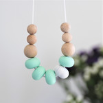 Silicone Nursing Necklace Mum Jewellery BPA FREE Mint & Natural Wood
