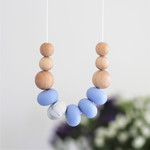 Silicone Nursing Necklace Mum Jewellery BPA FREE Serenity Blue & Natural Wood