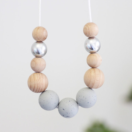Silicone Nursing Necklace Mum Jewellery BPA FREE Grey Granite & Natural Wood