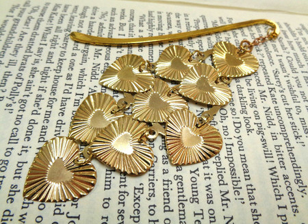 Golden Heart Bookmark, Metal Bookmark