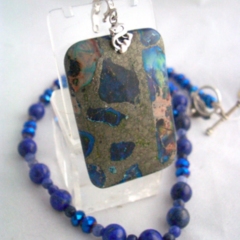 Detachable Sea Sediment Jasper Pendant in Lapis Lazuli Necklace.