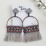 Boho Tassel Earrings - Grey
