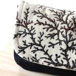 Clutch bag, bag organiser in navy denim and floral cotton fabric.