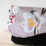 Clutch bag- dusty pink floral and black sateen.
