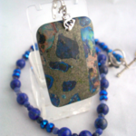 Detachable Sea Sediment Jasper Pendant in Lapis Lazuli Necklace.