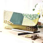 Clutch bag- green Kokka cotton fabric with beige linen fabric.