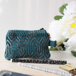 Zippered pouch in teal velvet and a lobster clasp