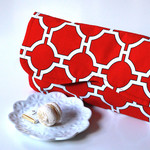 Clutch bag, handbag in Red and White Geometric cotton fabric.