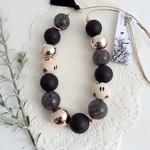 Black Crackle Deluxe Tassel Necklace