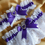 BRIDAL WEDDING GARTER SET - Purple Ultra Violet satin and white lace, hearts