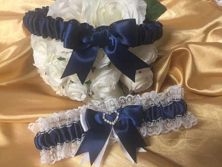 BRIDAL WEDDING GARTER SET - Navy blue satin and white lace, heart diamantes