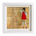 """Red Shoe Girls (Lucy),  oils - ART PRINT 9""""x9"""" (also available in other sizes)"""
