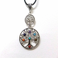 Double Tree of Life Necklace with Gemstone Chakra Colours