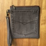 Upcycled Brown Denim Wristlet