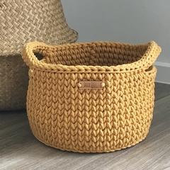 Crochet Basket XL with handles Premium Mustard