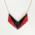 Red and Back Beaded Contemporary Geometric Necklace