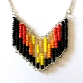 Up In Flames Beaded Contemporary Geometric Necklace