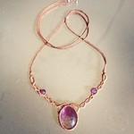 Amethyst Cabochon Macrame with Amethyst Beads