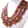Gold Sandstone Gemstones, 3 Strands Statement Necklace.