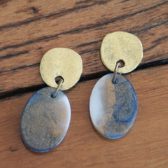 Oval Gold Resin Earrings - Small  Sea