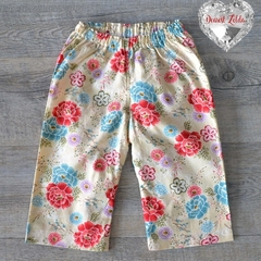 Baby Pants - Beige background with floral print - Size 00 (3-6 months)