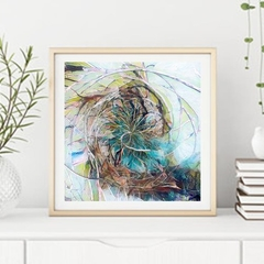 """ART Print: Abstract Blues, Abstract Art Square Print - 12"""" by 12"""""""