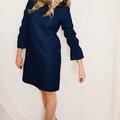 Women's Shift Dress with Elastic 3/4 Sleeves in Linen