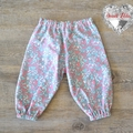 Harem Pants - Pink & Blue swirls on Grey - Size 00 6 Months
