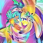 Digital Download, Abstract Art Image, Bright Flower Swirls - Modern Art. Square