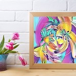 """ART Print: Bright Flower Swirl, Abstract Art Square Print - 12"""" by 12"""""""